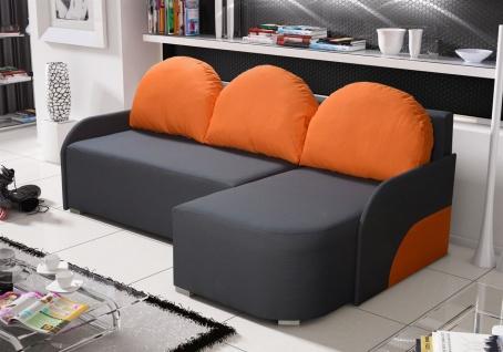 Ecksofa Sofa CANDY mit Schlaffunktion Ottomane Rechts Anthrazit/Orange