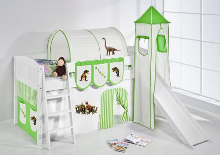 Spielbett mit Rutsche, Turm, Vorhang -LANDI/S -Dinos Grün -Kiefer Weiss