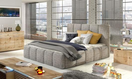 Polsterbett Bett Doppelbett VERONA Set 1 Webstoff Hellgrau 140x200cm