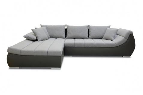 Ecksofa Sofa KLEO mit Schlaffunktion Dunkelbraun-Grau Ottomane Links