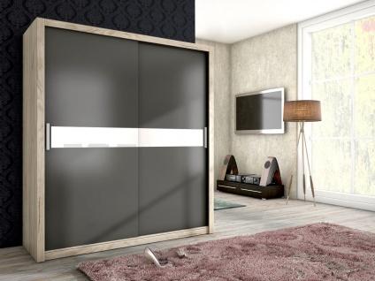 Schiebetürenschrank Schrank BRIT Sanremo /Graphit +Weissglas 180x200 cm