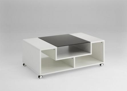 Couchtisch Beistelltisch Wohnzimmertisch - Morgan- 100x60 cm Weiß Glanz/Anthrazi