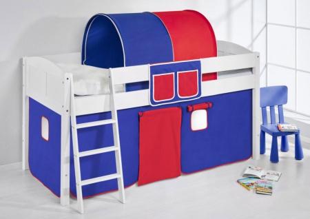 Spielbett Bett - LANDI - Blau Rot - Teilbar -Kiefer Weiss -mit Vorhang