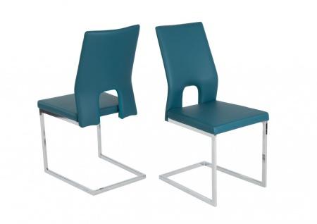 Esszimmerstühle Stühle Freischwinger 4er Set LAURO Kunstleder Petrol