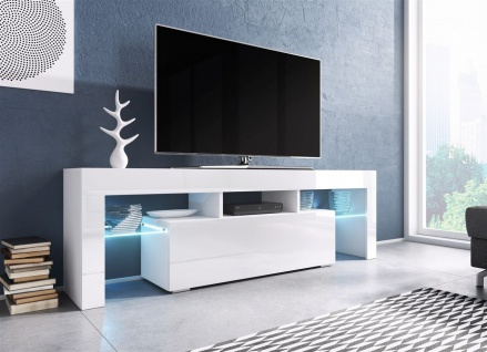 TV Board Lowboard TORIS Weiss Hochglanz 138cm