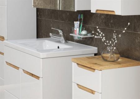 Badmöbel Set 5-tlg Badezimmerset DEVI Weiss HGL inkl.Waschtisch 80 cm - Vorschau 2