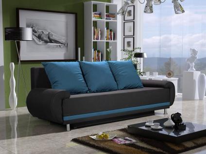 Sofa Designersofa MIKA 3-Sitzer mit Schlaffunktion Anthrazit- Hellblau
