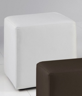 Sitzwürfel Sitzhocker Hocker - KUBUS - Kunstleder Weiß 40x40x45 cm