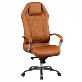 Drehstuhl Bürostuhl Chefsessel TOLEDO -Echtleder Caramel