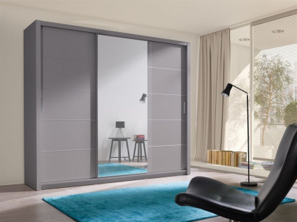 Schiebetürenschrank Schrank OSLO Grau matt + Spiegel 250x215 cm