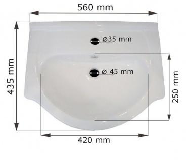 Badmöbel Set 4-Tlg Weiss / Weiss HGL PERM Nr.2 inkl.Waschtisch - Vorschau 4