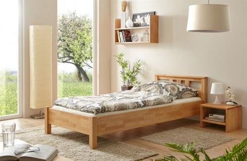 Schlafzimmerbett Tagesbett Bett -SELLY -Kernbuche geölt 100x200 cm