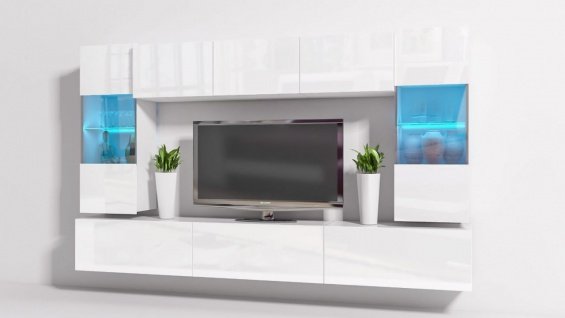 Mediawand Wohnwand 8 tlg - Konzept 27 - Weiss Hochglanz + LED