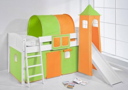 Spielbett mit Rutsche.Turm. Vorhang -LANDI/S -Grün Orange-Kiefer Weiss