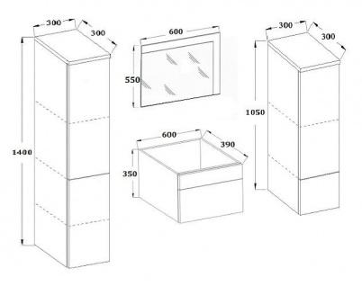 Badmöbel Set 5-Tlg Weiss Badezimmerset - Liva-inkl.Waschtisch inkl.LED - Vorschau 2