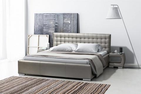 Polsterbett Bett Doppelbett DORO Kunstleder Grau 140x200cm