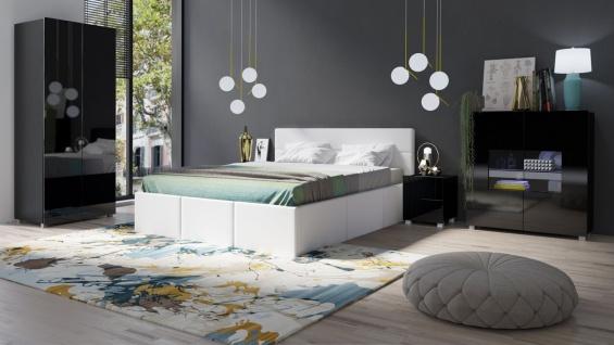 Schlafzimmer Komplett Set 5 tlg LABRI Weiss- Schwarz Hochglanz