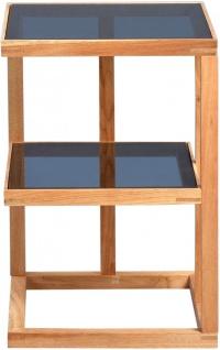 Beistelltisch Tisch SUMA 40x40 cm Walnuss massiv geölt / ESG Glas grau - Vorschau 3