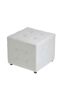 Sitzwürfel Sitzhocker - Cosimo - Hocker : Kunstleder Weiss 44x44 cm