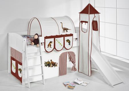 Spielbett mit Rutsche, Turm, Vorhang -LANDI/S -Dinos Braun-Kiefer Weiss