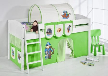 Spielbett Bett -LANDI - Pirat Grün - Teilbar- Kiefer Weiss-mit Vorhang