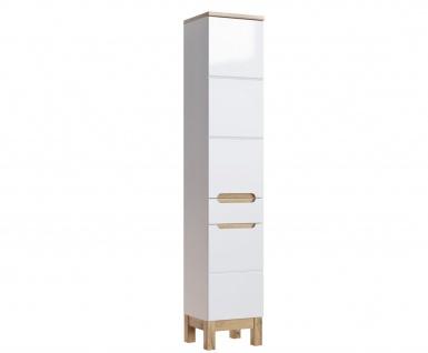 Badmöbel Set 5-tlg Badezimmerset DEVI Weiss HGL inkl.Waschtisch 80 cm - Vorschau 4