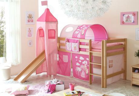 Rutschbett ROBI XL Buche Natur inkl.Vorhang und Turm Prinzessin-Pink