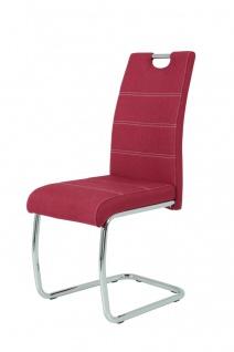 Esszimmerstühle Stühle Freischwinger 4er Set - Gloria- Bordeauxrot