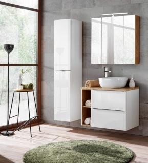 Badmöbel Set 6-tlg Badezimmerset PERUGIA Weiss HGL inkl.Waschbecken