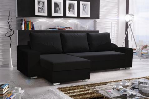Ecksofa Sofa COLLIN mit Schlaffunktion Schwarz Ottomane Links
