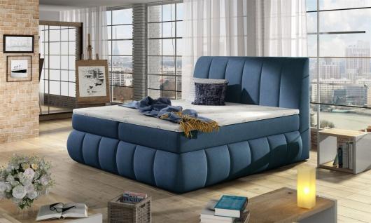 Boxspringbett Schlafzimmerbett PALERMO Pol..Stoff Blau 180x200cm