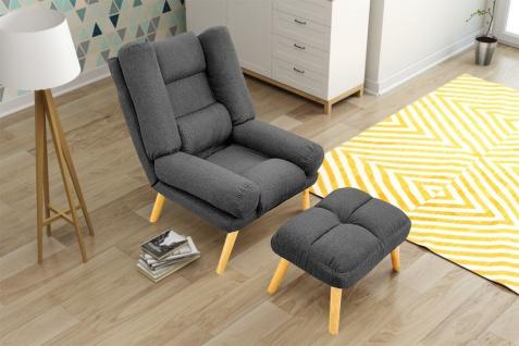 Relaxsessel Sessel VENICE verstellbar in Stoff Dunkelgrau inkl.Hocker - Vorschau 1