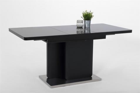 Esstisch Auszugstisch BARI 120-160x80 cm in Schwarz matt / Glas
