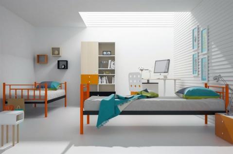 Etagenbett Metall Teilbar : Metallbett darvin orange schwarz hochbett in zwei einzelbetten