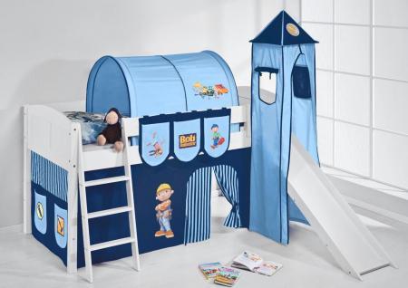 Spielbett mit Rutsche, Turm, Vorhang -LANDI/S - Bob - Kiefer Weiss