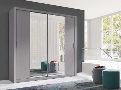 Schiebetürenschrank Schrank VISBY Grau matt + Spiegel 220x215 cm