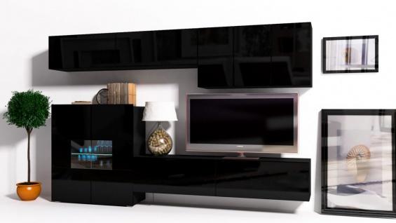 Mediawand Wohnwand 8 tlg - Konzept 16 - Schwarz Hochglanz + LED