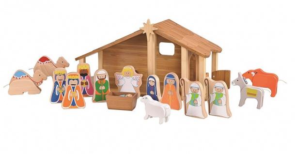 Holzspielzeug - Große Weihnachtskrippe aus Bambus