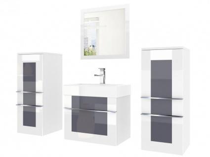 Badmöbel Set 4-tlg DAWINO Set.3 Weiss-Grau inkl.Waschtisch 50 cm