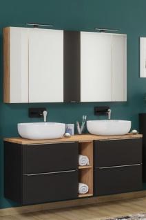Badmöbel Set 7-tlg Badezimmerset PERUGIA Schwarz ohne Waschbecken