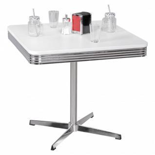 Esstisch Bistro -Tisch DREAM NR.3 80x80 cm in Dekor Weiss / Chrom