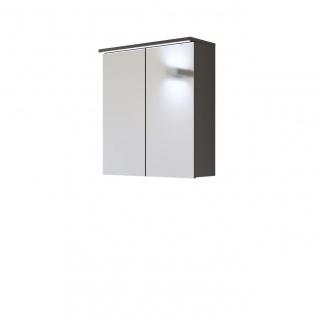 Badezimmer Spiegelschrank 60 cm LAXY Grau Hochglanz inkl.LED