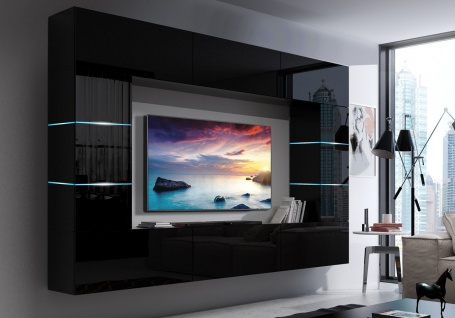 Mediawand Wohnwand 8 tlg - SENOX 8 - Schwarz Hochglanz inkl.LED