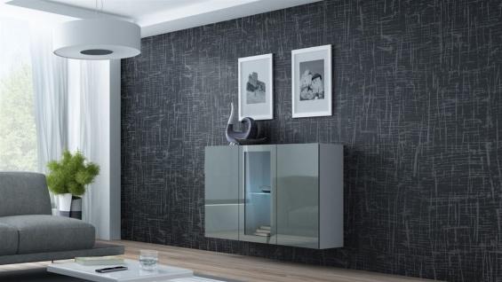 """Sideboard Hängesideboard """" LUGO"""" 120x38x90 cm Weiss/ Grau HGL mit LED"""