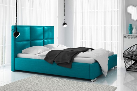 Polsterbett Bett Doppelbett VITUS Polyesterstoff TÜRKIS 140x200cm
