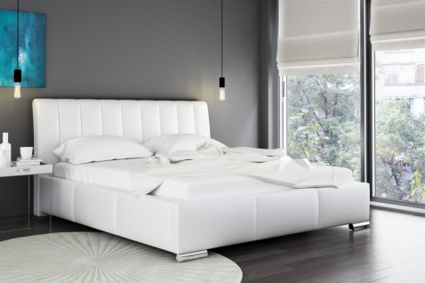 Polsterbett Bett Doppelbett MARLON Kunstleder Weiss 140x200cm