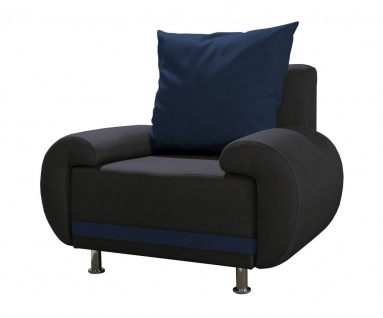 Sessel Clubsessel MIKA in Polyesterstoff Anthrazit / Blau