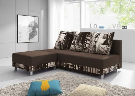 Sofa Schlafsofa KIRA inklusive Bettkasten und Hocker Braun