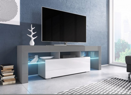 TV Board Lowboard TORIS Grau / Weiss Hochglanz 138cm
