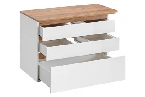 Badmöbel Set 3-tlg Badezimmerset PLATIN Weiss HGL ohne Waschtisch - Vorschau 3